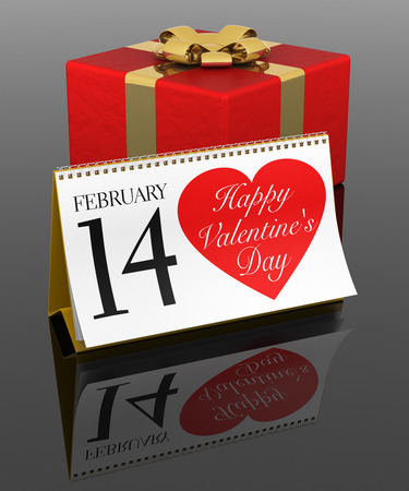14 of february: 14 February Calendar with Gift Box. 3D Rendering image.