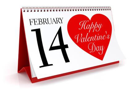 14 of february: 14 February Calendar on White Background. Isolated 3D image