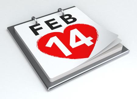 14 february: 14 February Calendar on White Background. Isolated 3D image