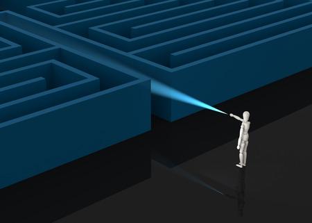 quest: Businessman in front of huge maze entrance, business concept illustration. Stock Photo