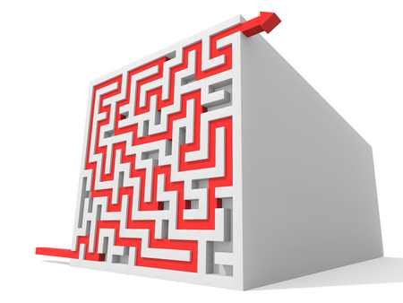 solved maze puzzle: Solved maze puzzle. Computer Rendered Graphic for the Business Concept
