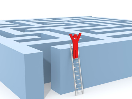 conquering adversity: Finding a Solution. Computer Rendered Graphic for the Business Concept Stock Photo