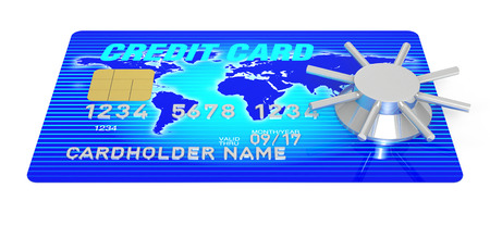 A 3D Rendering blue credit card with safeWorld Map Source: http:lib.utexas.edumapsworld_mapsworld_physical_2011_nov.pdf photo