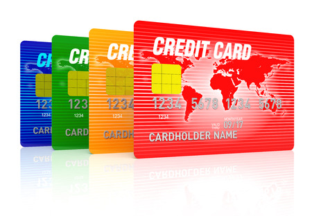 commercial activity: High detail illustration of multi colored credit cards.World Map Source: http:lib.utexas.edumapsworld_mapsworld_physical_2011_nov.pdf