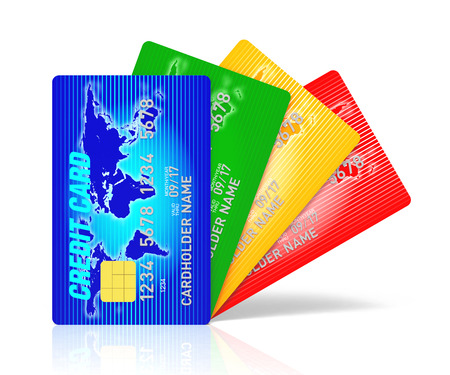 multi: High detail illustration of multi colored credit cards.