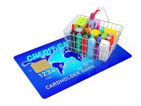 3D Rendering blue credit card with ed shopping  photo
