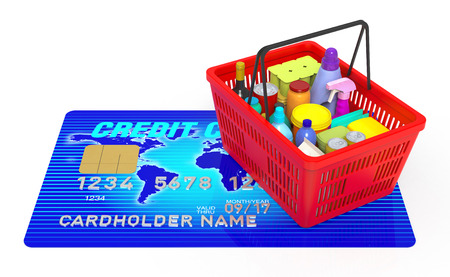 ed: 3D Rendering blue credit card with ed shopping  Stock Photo