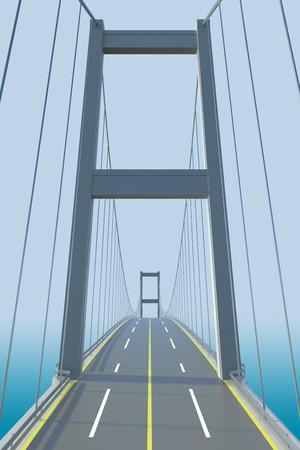 斜張橋の建築モデル。3 D レンダリング 写真素材