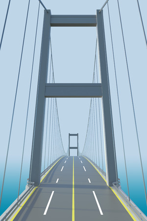 suspension bridge: Architectural models of cable-stayed bridge. 3D Rendering