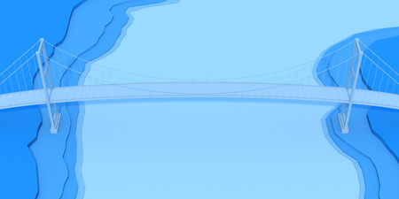 urban planning: 3D bridge on blue topology background Stock Photo