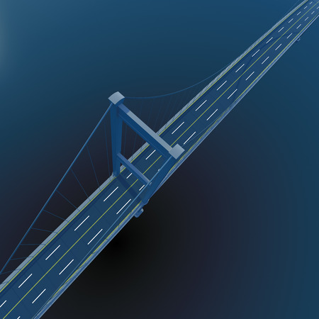 urban planning: 3D bridge on deep blue sea background