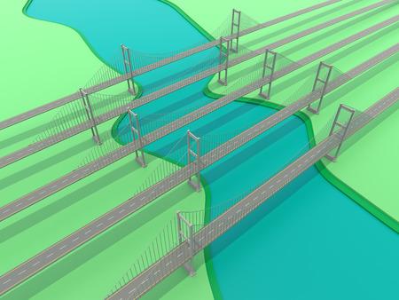 Network bridge for business concept. 3D rendering