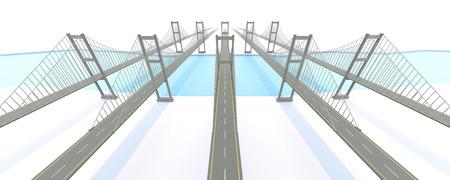 ネットワーク ビジネス コンセプトのブリッジ。3 D レンダリング 写真素材