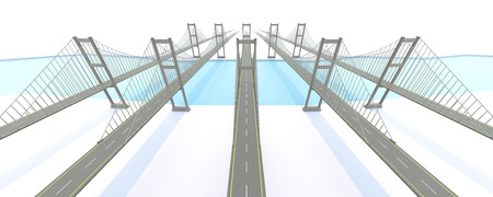 suspension bridge: Network bridge for business concept. 3D rendering