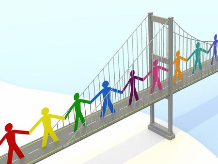 紙人、歩道吊橋。3 D レンダリング