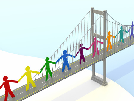 Paper People, Suspension Bridge Walkways. 3D Rendering Stock Photo