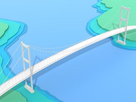 mesh: 3D bridge on blue topology background Stock Photo