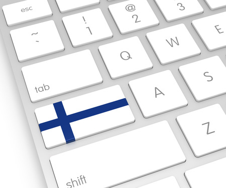 FINLAND flag: Finland Flag on Computer Key. 3D rendering