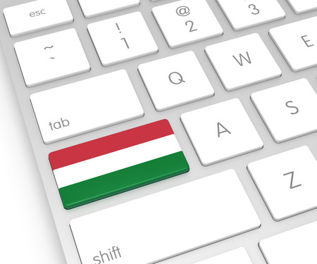 computer key: Hungary Flag on Computer Key. 3D rendering