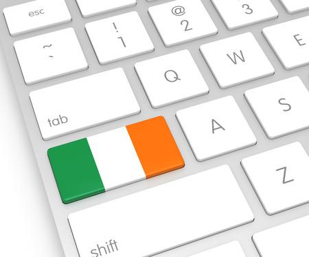 computer key: Ireland Flag on Computer Key. 3D rendering