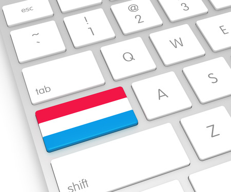 computer key: Luxembourg Flag on Computer Key. 3D rendering
