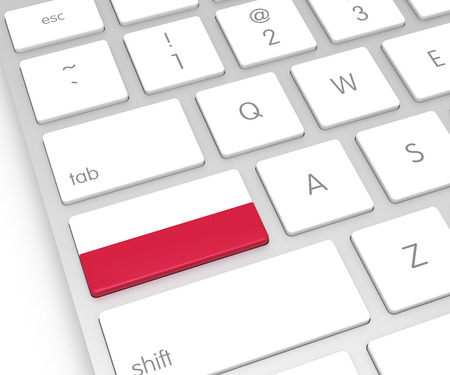 Poland Flag on Computer Key. 3D rendering Stock Photo