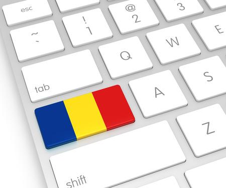 computer key: Romania Flag on Computer Key. 3D rendering Stock Photo