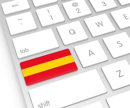 computer key: Spain Flag on Computer Key. 3D rendering