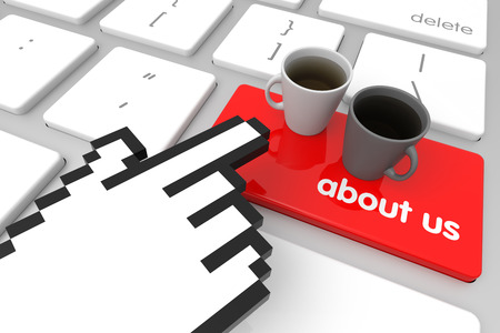 hand cursor: Red About Us enter key with hand cursor. 3D rendering Stock Photo