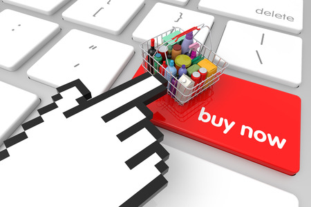 3d cursor: Red Buy Now enter key with hand cursor. 3D rendering Stock Photo