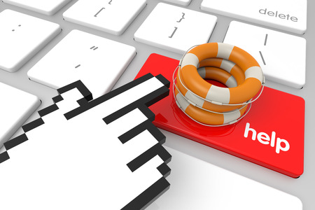 Red Help enter key with hand cursor. 3D rendering photo