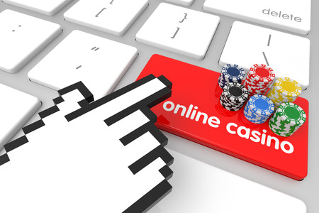 hand cursor: Online Casino enter key with hand cursor. 3D rendering Stock Photo