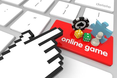 3d cursor: Online Game enter key with hand cursor. 3D rendering