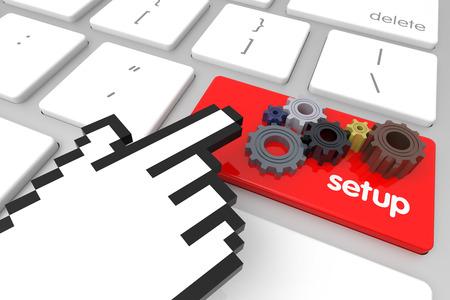 hand cursor: Red Setup enter key with hand cursor. 3D rendering