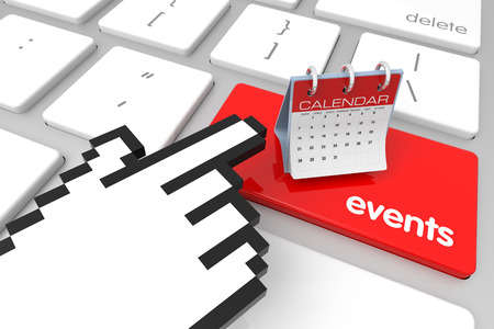hand cursor: Red Events enter key with hand cursor. 3D rendering Stock Photo