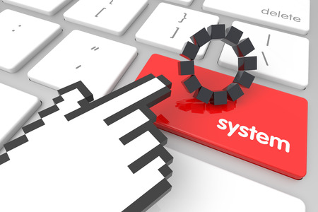 hand cursor: Red System enter key with hand cursor. 3D rendering