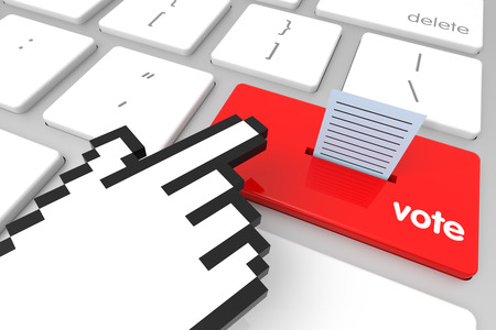 hand cursor: Red Election enter key with hand cursor. 3D rendering