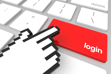hand cursor: Red login enter key with hand cursor. 3D rendering Stock Photo