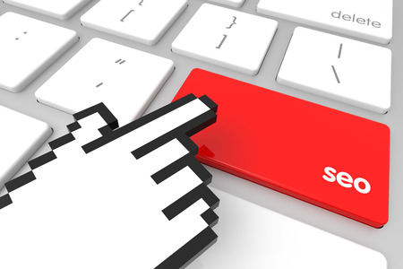 keywords link: Red seo enter key with hand cursor. 3D rendering