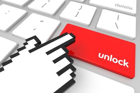 3d cursor: Red Unlock enter key with hand cursor. 3D rendering