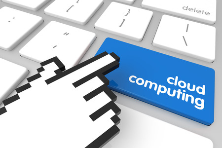 hand cursor: Blue Cloud Computing enter key with hand cursor. 3D rendering