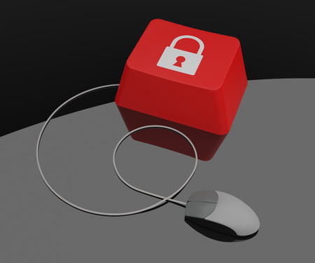 Computer key with lock icon. 3D Rendering photo