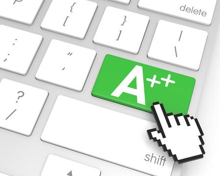 3d cursor: A++ enter key with hand cursor. 3D rendering