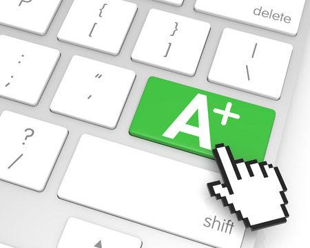 hand cursor: A+ enter key with hand cursor. 3D rendering Stock Photo
