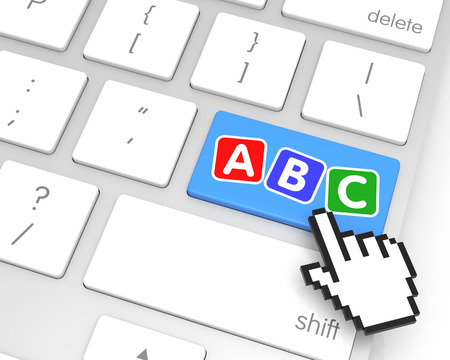 ABC enter key with hand cursor. 3D rendering photo