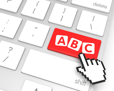 alphabetical order: ABC enter key with hand cursor. 3D rendering