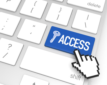 Access enter key with hand cursor. 3D rendering photo