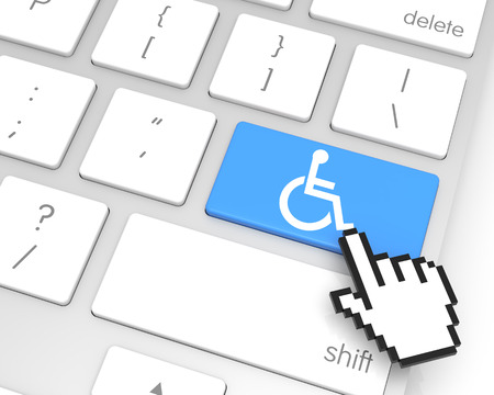 technology symbols metaphors: Accessibility enter key with hand cursor. 3D rendering