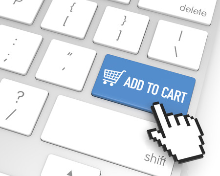 hand cursor: Add to Cart enter key with hand cursor. 3D rendering