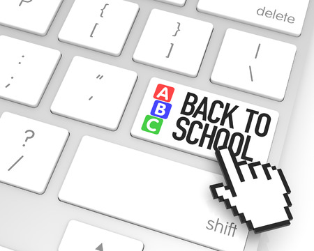 hand cursor: Back to school enter key with hand cursor. 3D rendering